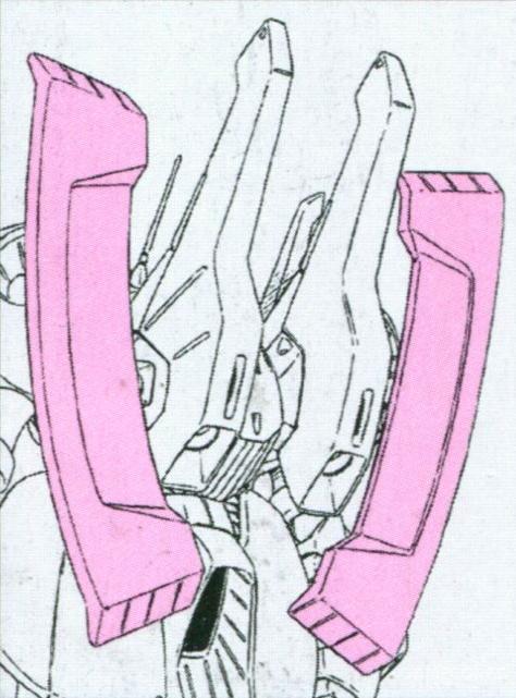 除了推进器外,背包两侧还设计了巨大的翼状结构。除了用于机体防御外,还能用来携带专用的大型反舰导弹。