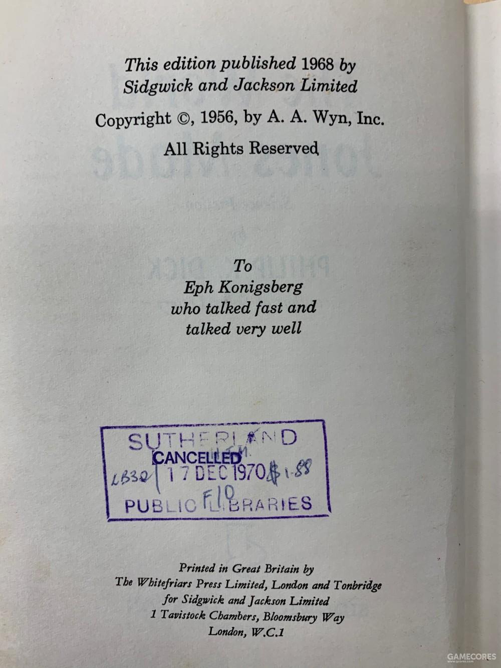 版权页,可见直至1968年,此书版权仍在Ace手里,A. A. Wyn即是Ace贪得无厌,压榨作者的老板