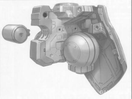 YMS-15在胯部安装了额外的强制冷却系统。能够让YMS-15在格斗战中瞬间输出更高功率。