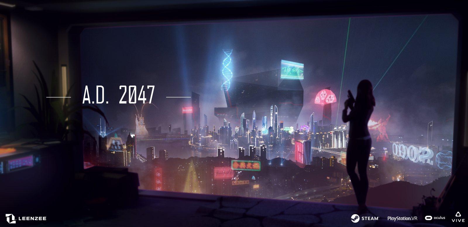 赛博朋克VR互动电影游戏《A.D. 2047》定于2月26日在viveport发售