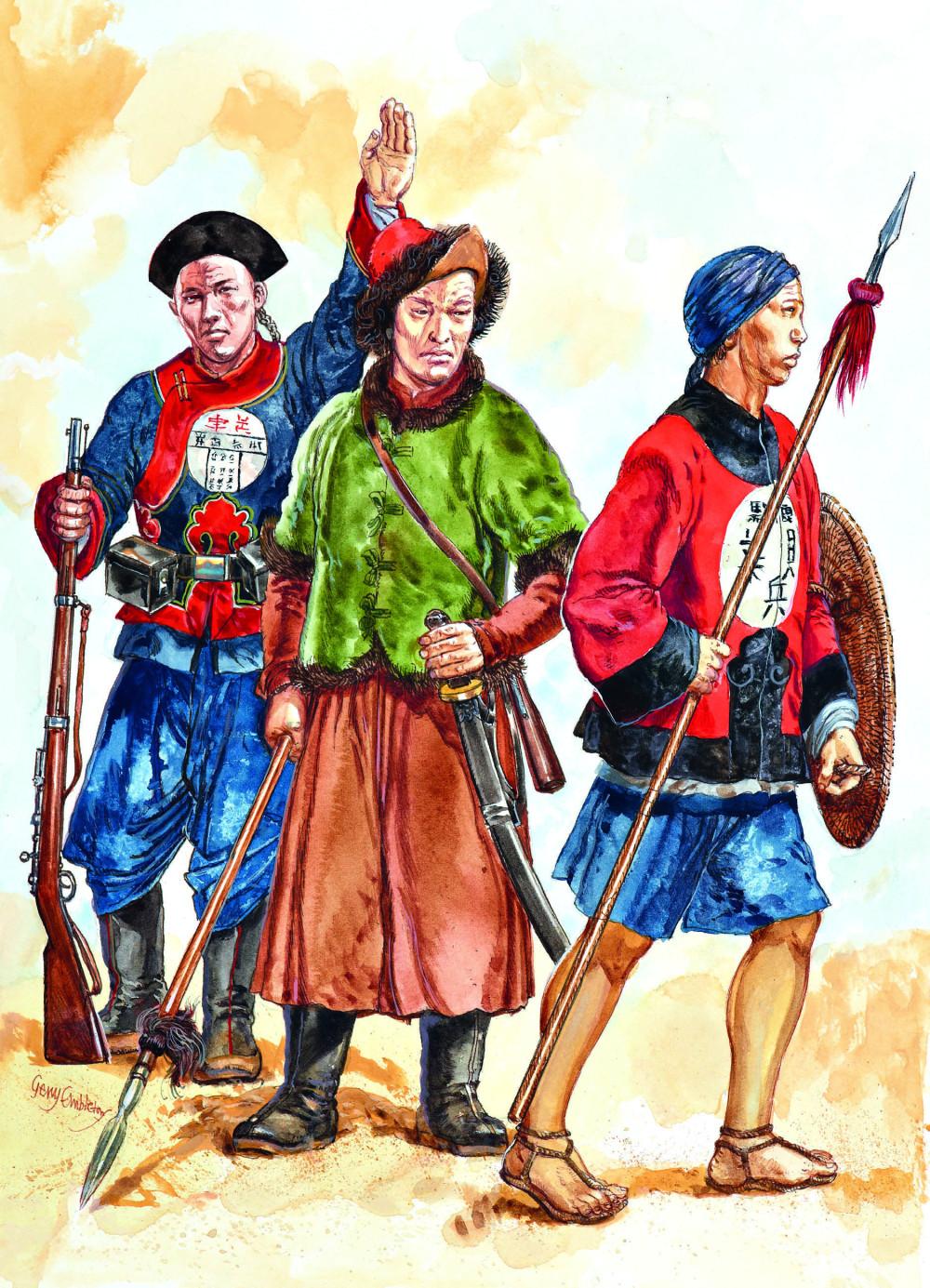 同日军作战的清军,此时装备和编制依然相当落后