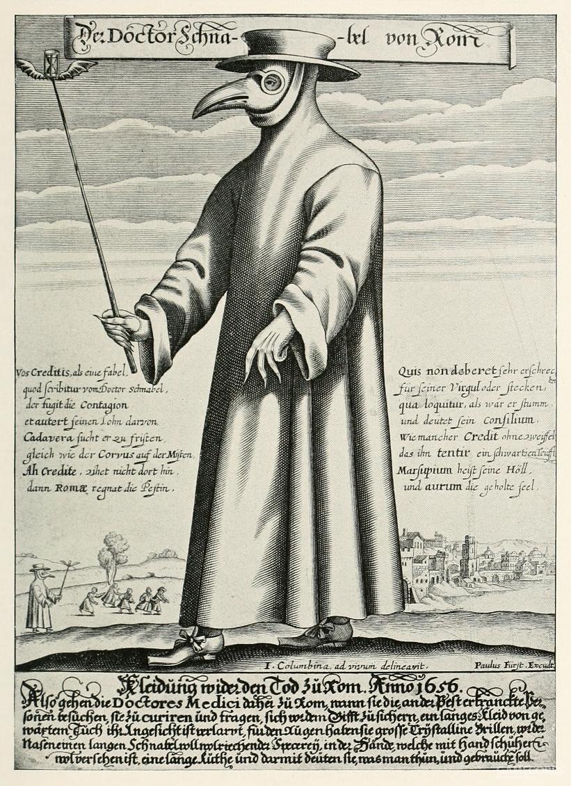 18世纪的瘟疫医生板画,描绘了他们标志性的长袍、手杖和面具