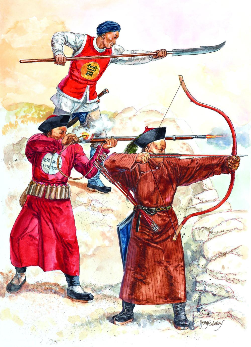 19世纪中期,仍然有许多清军士兵只有刀和弓,没有(已经落后于时代的)火枪