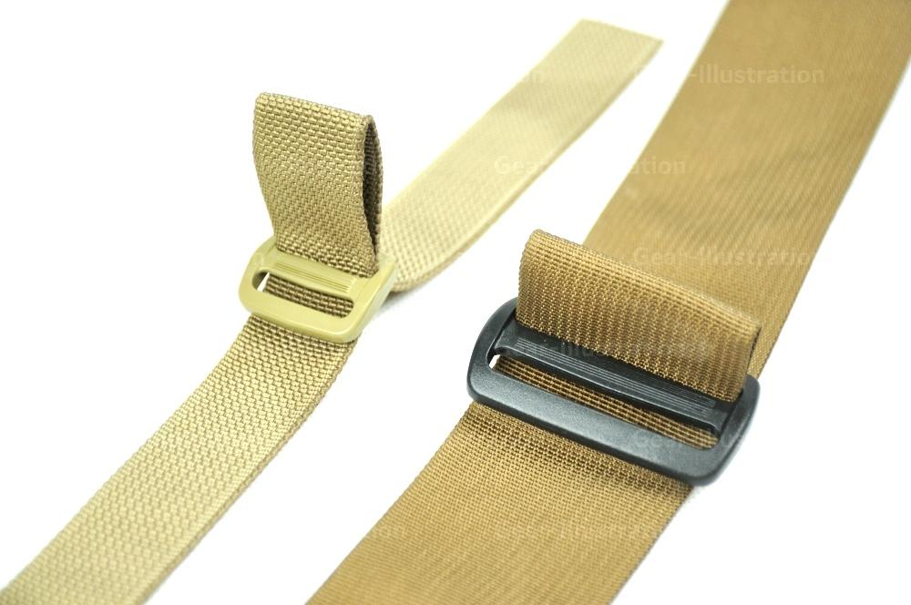 第一步:日扣放在想要挂载位置的上端,将背带对折后穿过日扣的一个孔