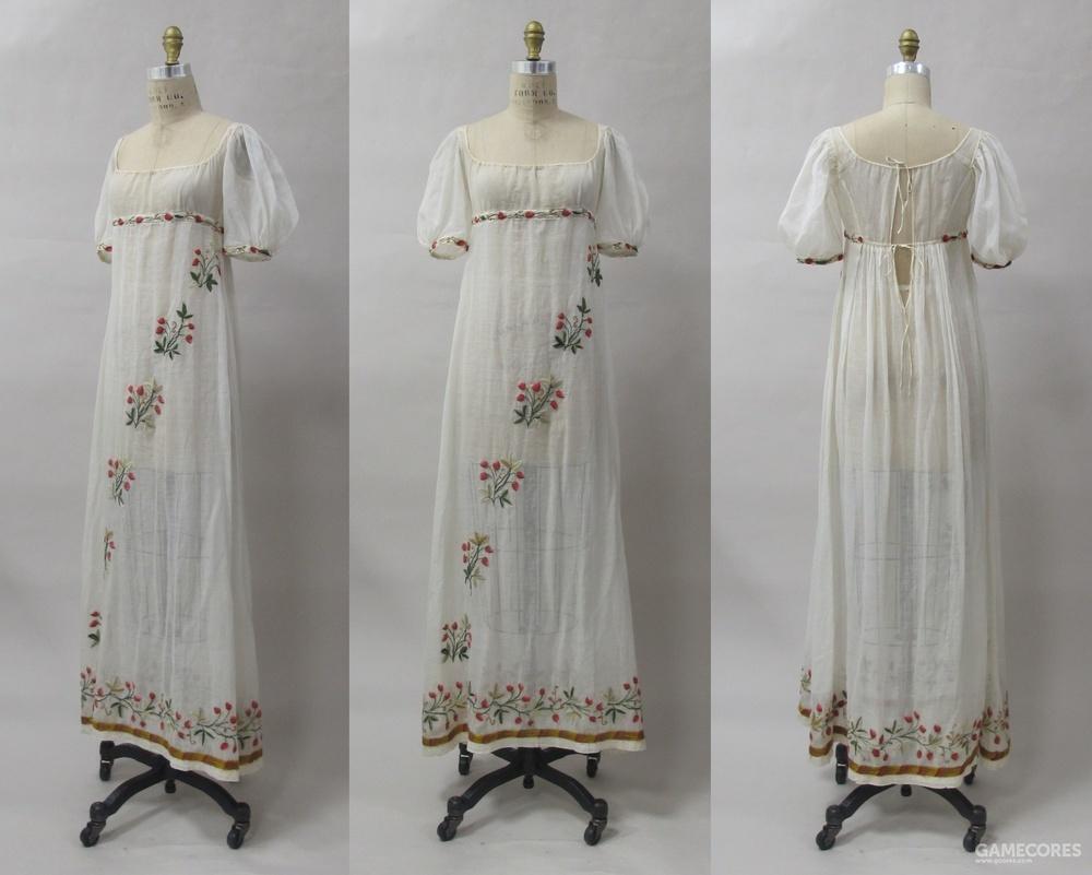 Dress, c1805 (MET) 可見其布料薄得可透視
