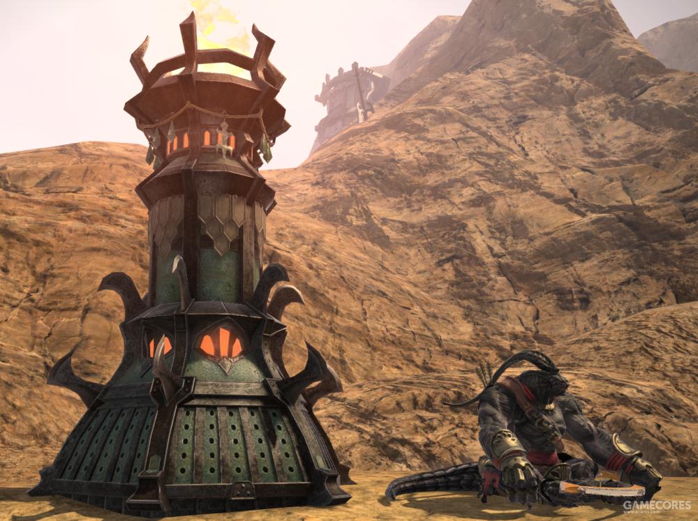 蜥蜴人崇拜火神伊芙利特,故而在其驻地随处可见熊熊燃烧的圣火台