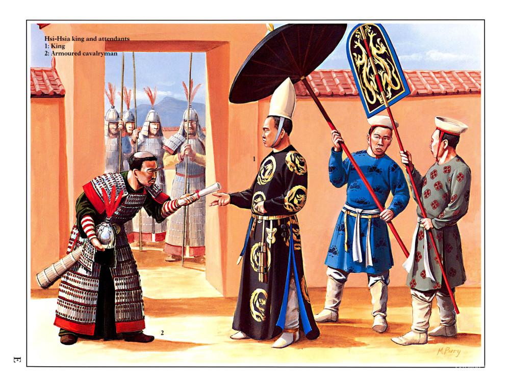 西夏重骑兵和皇帝(右)