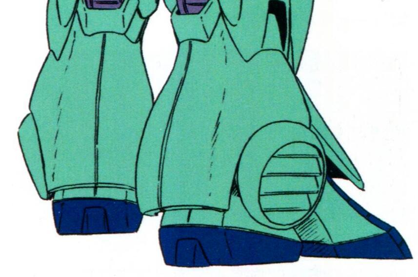 MSK-008的脚掌部分采用了靴式设计以求获得更好的复杂地面行走能力。同时,小腿外侧的推力偏向喷射器则采用了百叶窗式设计,除了为机体的地面机动提供推力外,在地面环境也能保护推进器本身。