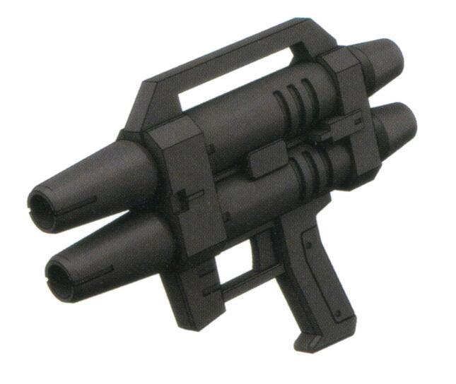 除了标准的BR-M-79C系列光束喷枪,备选武装还有XBR-M-79W-2双联光束喷枪。就如形状显示,是通过两个BR-M-79C系列光束喷枪结构并联而来。能够提供更多的射击次数和更高的火力密度。