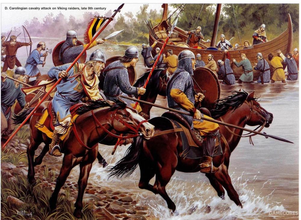 加洛林骑兵正在向维京人冲锋