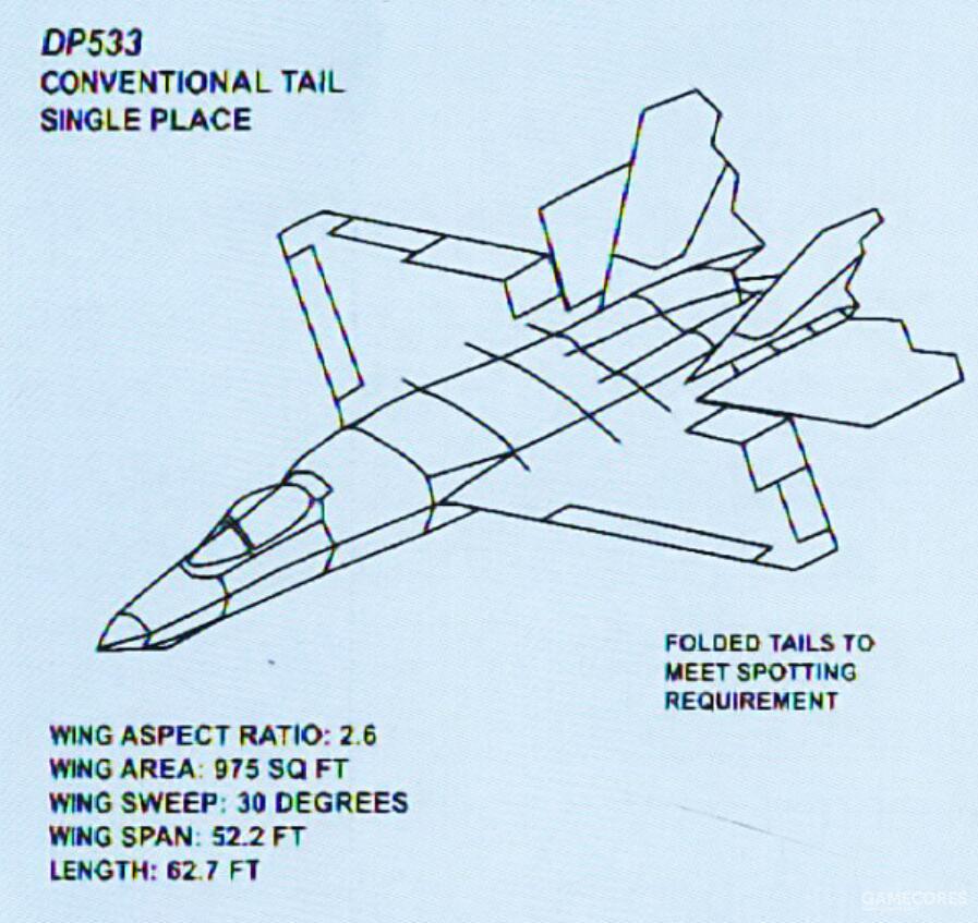 DP533采用了菱形主翼面与传统的四尾翼设计。机体长度相比YF-23大幅缩短。