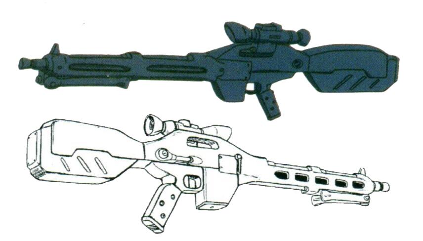 MS-14JG设计时定位于远距离的狙击作战。因此只配备了一杆高精度光束步枪。精密调整的该型步枪拥有极其优秀的收束率和极低的衰减率。配合机体头部经过升级的传感器及改良过的背部天线,可以进行高精度的远距离射击。同时,该型光束步枪也能进行脉冲光束形态的连续射击。强大的机体性能和优良的光束武器,使得MS-14JG成为吉翁军在整个一年战争时期性能最强的MS型号。