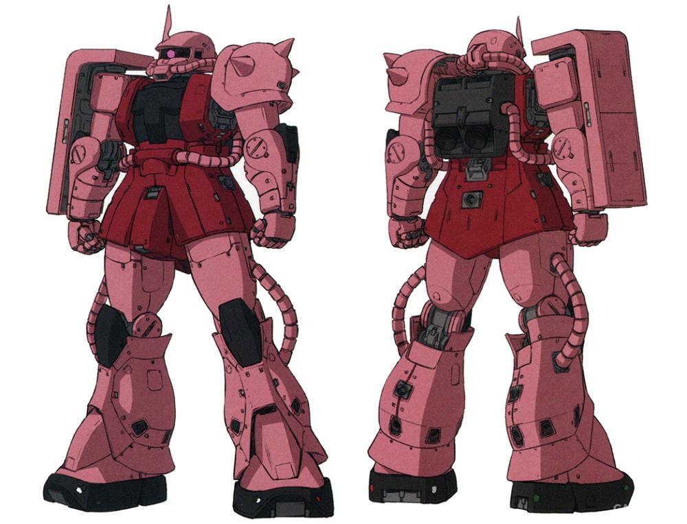 最为众人熟知的专属涂装莫过于夏亚·阿兹纳布尔专用座机粉红和深红混合的涂装。夏亚本人在鲁姆战役中一役成名后,这一涂装也为人所熟知。此后夏亚换装MS-06S后,这一涂装也成为识别其座机的鲜明标志。