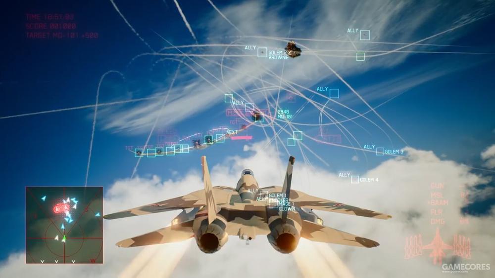 不死鸟齐射AIM-120的场景,注意主翼套下悬挂的吊舱