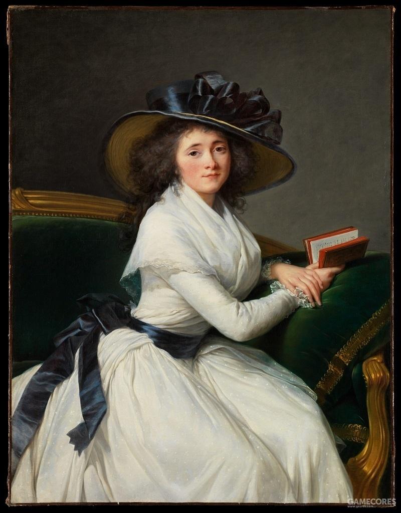 Portrait of Comtesse de la Châtre by Élisabeth Louise Vigée Le Brun, 1789 有时gaulle会搭配名为fichu的方巾穿着