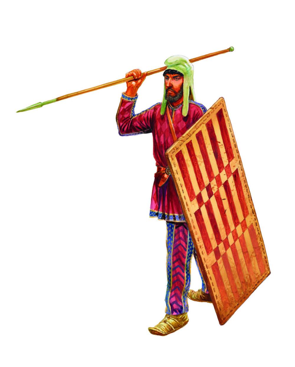 晚期波斯不死兵,他没有盔甲,穿着华丽的服饰,使用方形的柳条盾