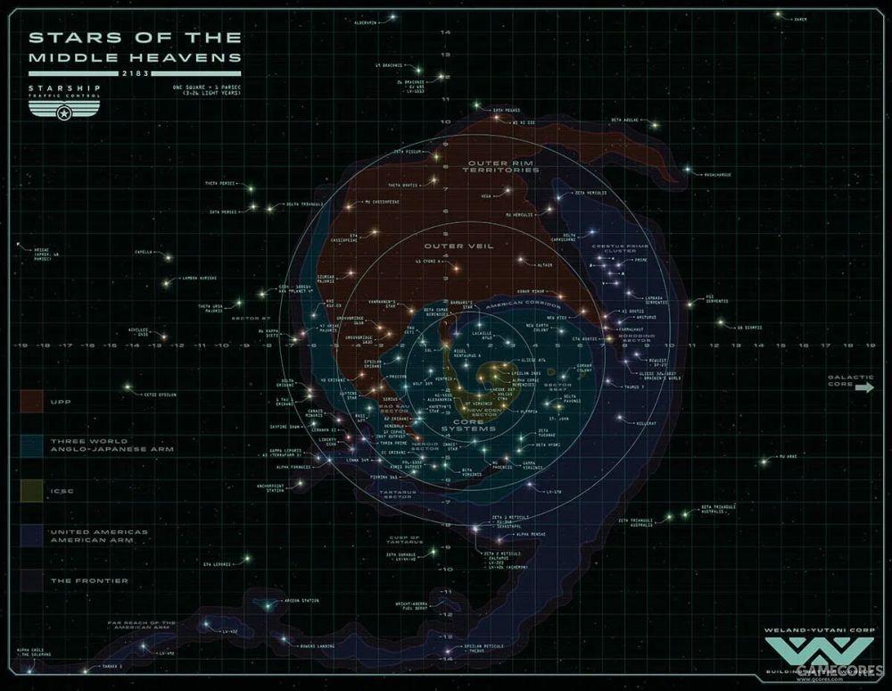 核心星域被ICSC和3WE占据,UPP和美洲联邦的领土向外环扩张