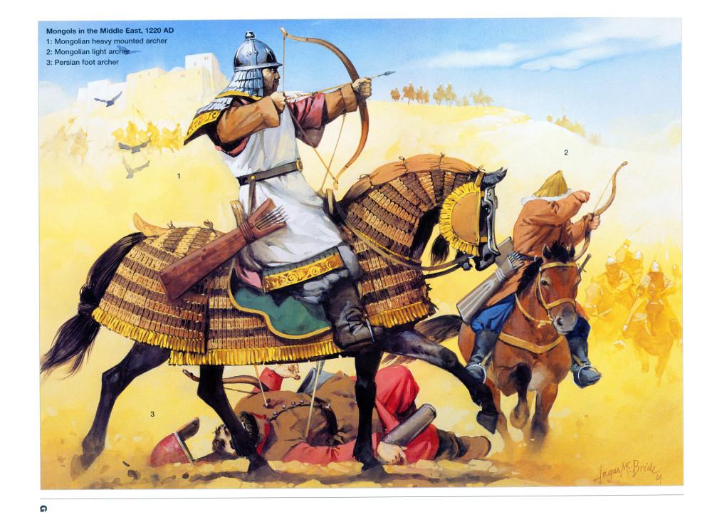 入侵波斯的蒙古甲胄弓箭手和轻装马弓手