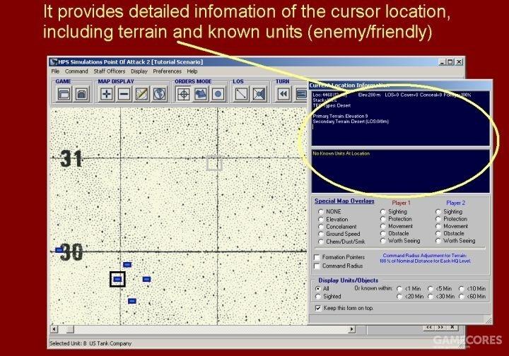 它提供了光标所在位置的详细信息,包括了地形和已知单位(敌方/友军)。