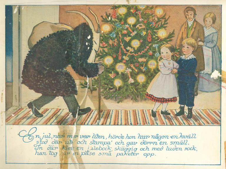 拟人化的圣诞山羊
