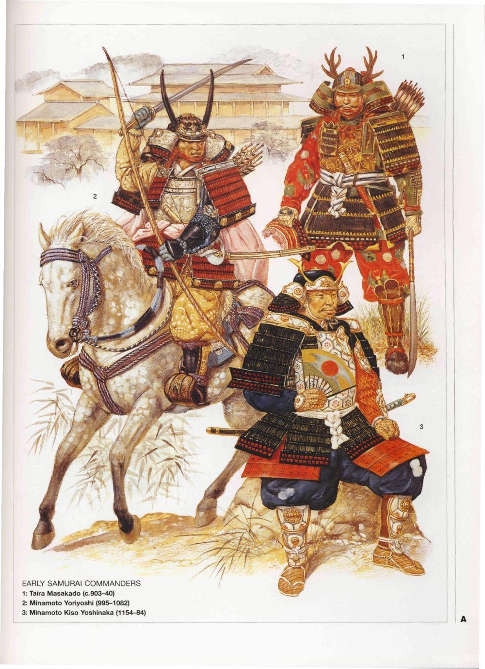 左:源赖义,右上:平将门,右下:木曾义仲