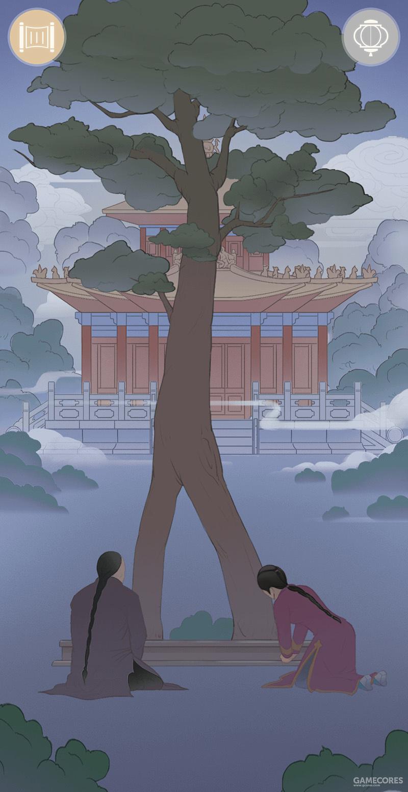 """两人在调查御花园中万春亭前的""""人字柏"""""""