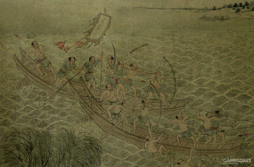 舢板上的倭寇们,这种船非常小,同样是平底的
