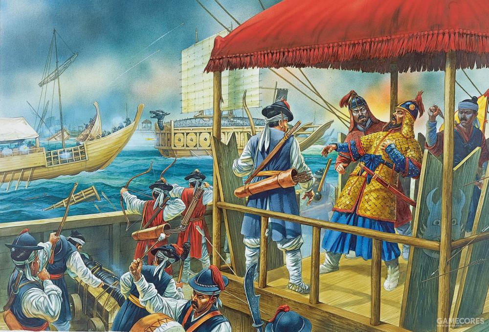 此图表现了露梁海战的场景,虽然明朝和朝鲜的海军取得了胜利,但是折损了几员大将