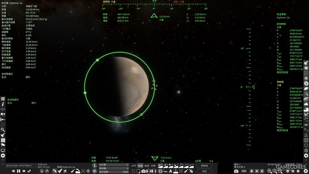 正在环绕一颗行星飞行的飞船的轨道