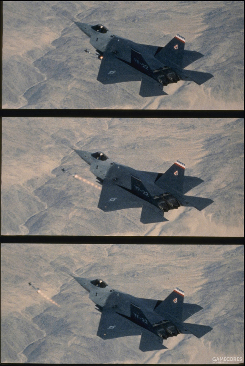 1990年11月28日中国湖海军武器中心,YF-22 PAV-2从左侧弹舱发射了一枚移除了战斗部的AIM-9M训练弹。