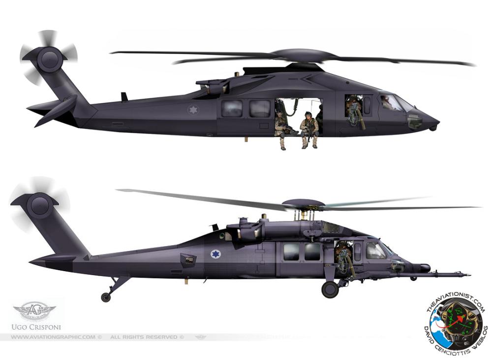 """对""""隐身黑鹰""""的两种构想,上面的采用了重新设计的机体,下面的和传统UH-60差别不大"""
