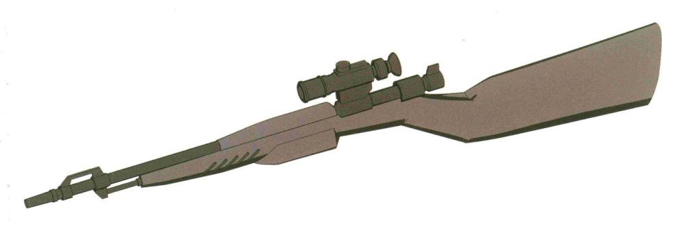 Franz EF-KAR98K 75mm狙击步枪。采用MS武器少见的纯机械式结构。发射55.6MM弹丸。地面有效射程达到7500米,对MS级目标命中率极高。