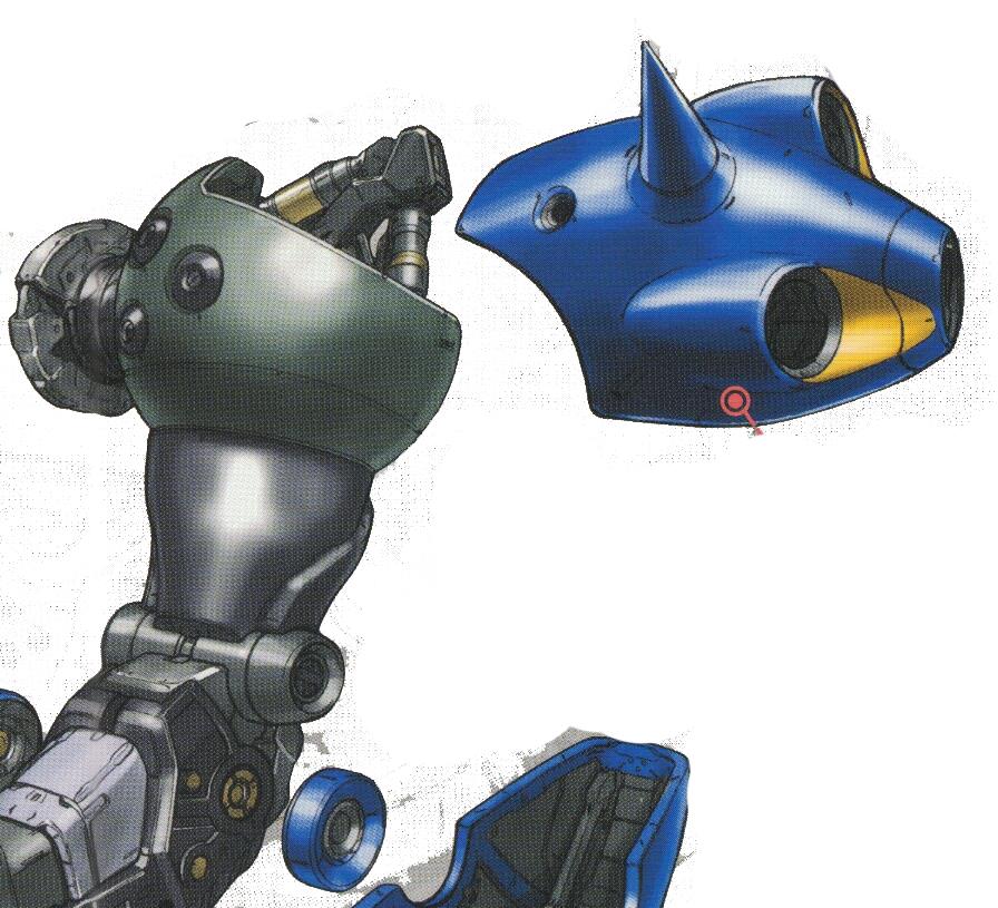 MS-18E的装甲进行了大幅简化以降低MS总重。部分装甲直接和内部结构融为一体。肩部并未继承YMS-18的设计而是额外在肩甲部分增加了三个辅助推进器以强化侧向推进力。