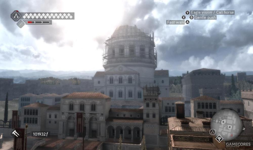 《刺客信条:兄弟会》,这里的的圣彼得大教堂正好在新旧两个教堂交替的状态中。新的穹顶已经树立起来,但是穹顶前面的还是旧圣彼得大教堂的正面和前厅。