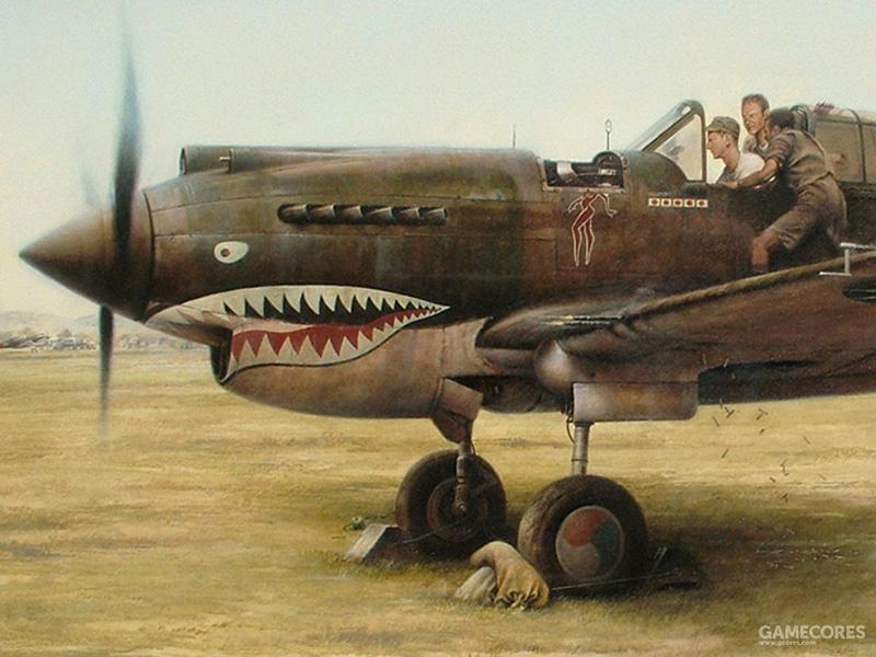 正在进行校靶的飞虎队P-40,可以看到开火的机翼机枪