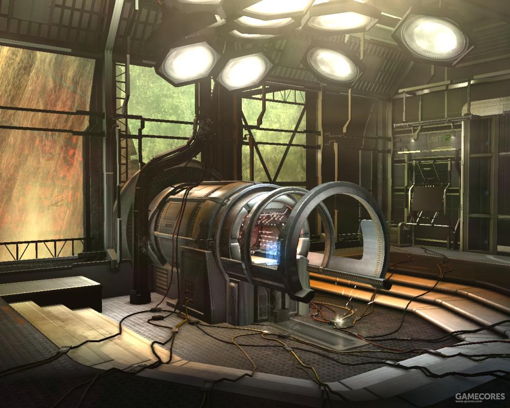NoonTech机器所在的空间站科研区设备房间,可以看到外面就是12B工程制造的神印。