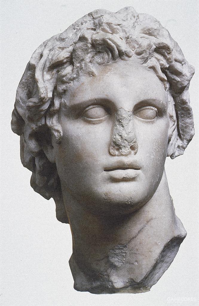 亚历山大大帝的头像,据普鲁塔克所说,莱斯普斯的这座头像最能代表亚历山大的外观,亚历山大甚至禁止除了莱斯普斯外的任何人为自己塑像