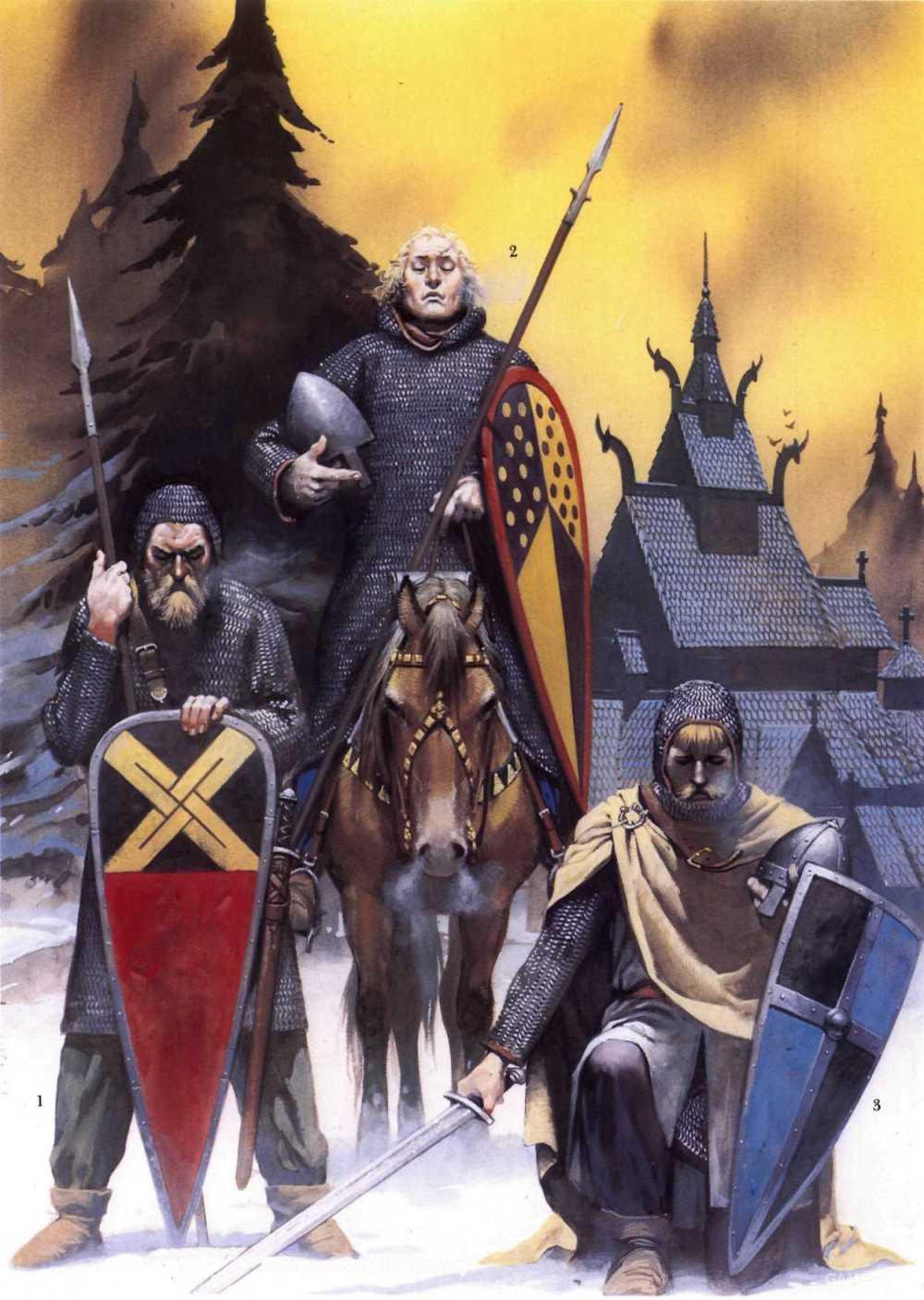 12世纪的斯堪的纳维亚武士,他们的战斗方式正逐步从步兵战术过渡到骑兵战术,武器也和南方的骑士们接近