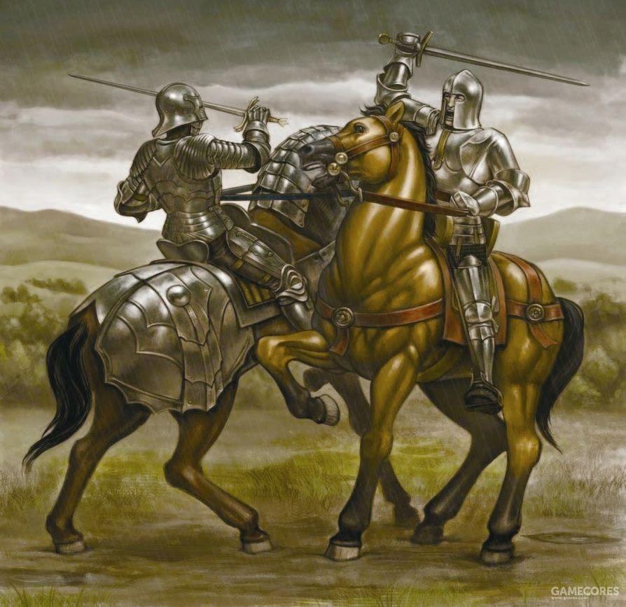 和康多铁里(右)交战的敕令骑士,虽然意大利人的盔甲和装备都很精良,但是组织能力和战斗意志都不如法国人,因此也很难胜利