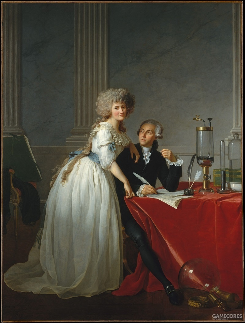 Portrait of  Antoine Laurent Lavoisier (1743–1794) and His Wife (Marie Anne Pierrette Paulze, 1758–1836) by      Jacques Louis David, 1788 我最喜欢的油画(*´▽`*)