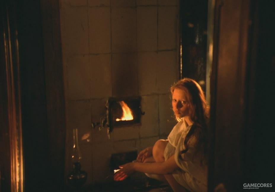 取暖烤火的女孩