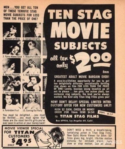 """上世纪70年代的美国""""单身电影"""",一部大概十几分钟左右,价格低廉,很受人们欢迎。"""