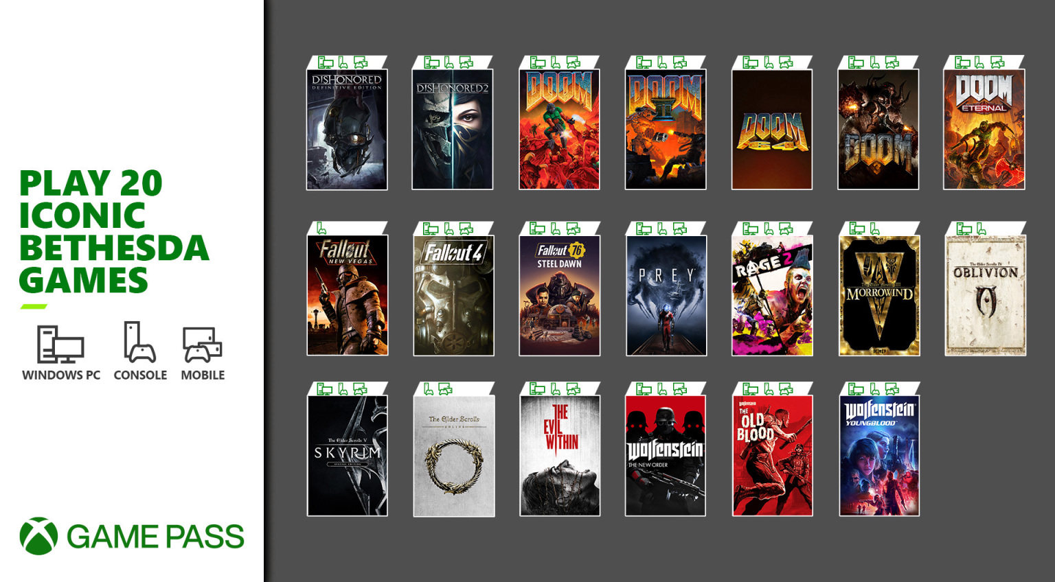 欢迎 Bethesda!20款经典游戏加入 XGP