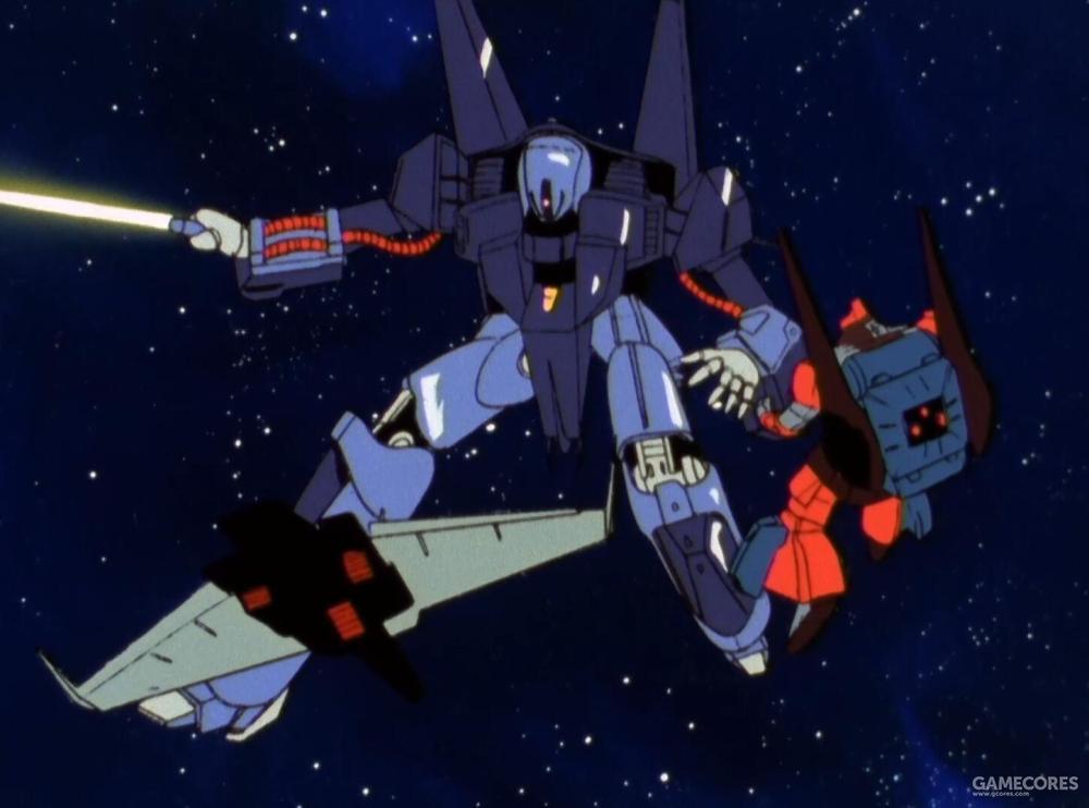在被AEUG精锐驾驶员截击进入近距离作战时,PMX-000凭借其MS形态轻松斩断了爱玛·辛座机的手臂。