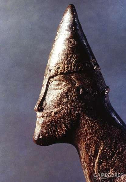 雕刻,头戴锥形盔的维京人