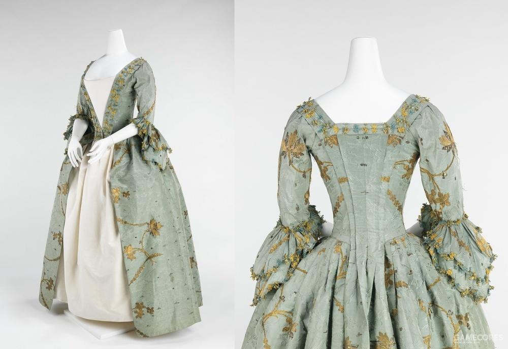 Robe à l'Anglaise, 1770–75 (MET) 前开的英式礼服,背面仍有华铎式拖尾的痕迹