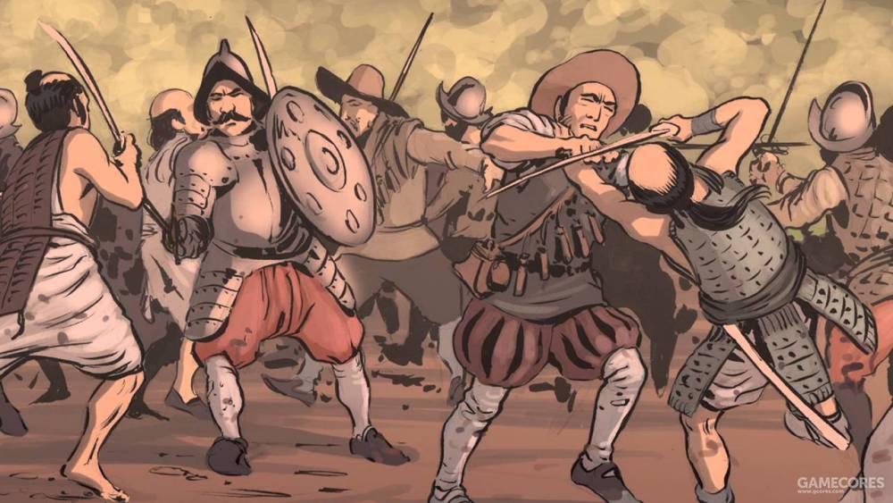 海盗和西班牙士兵之间的白刃战
