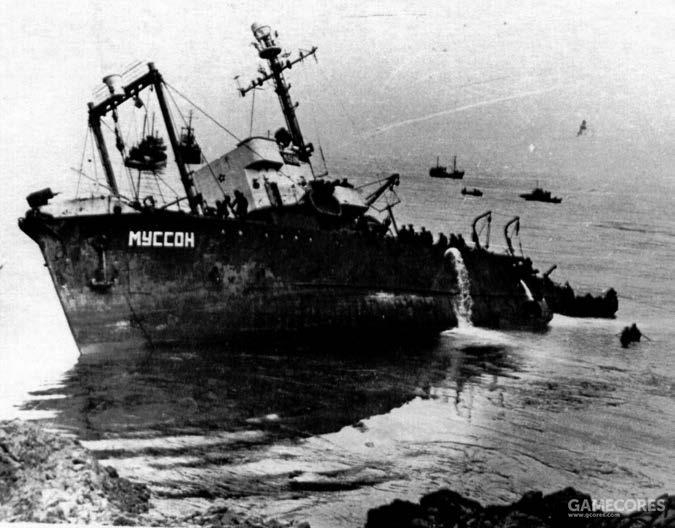 搁浅于千岛群岛的苏联捕鲸船