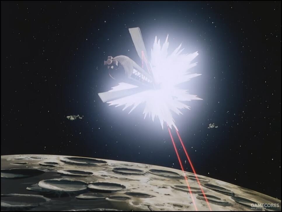 为了避免殖民卫星掉在自己头上,月面都市如迪拉兹舰队所计划的一样,用轨道运输激光(orbital liansportation laser)点燃了殖民卫星的推进燃料,Island Ease在推进器作用下脱离了绕月轨道,坠向地球。由于追击的地球联邦军舰队燃料耗尽,因此被拖在了绕月轨道无法脱离。