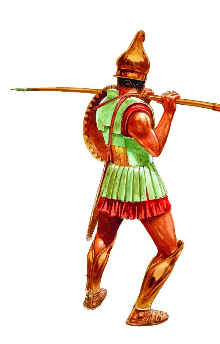 注意盾牌是怎样挂在他的脖子上的。到了亚历山大的时期,铁制盔甲也开始流行